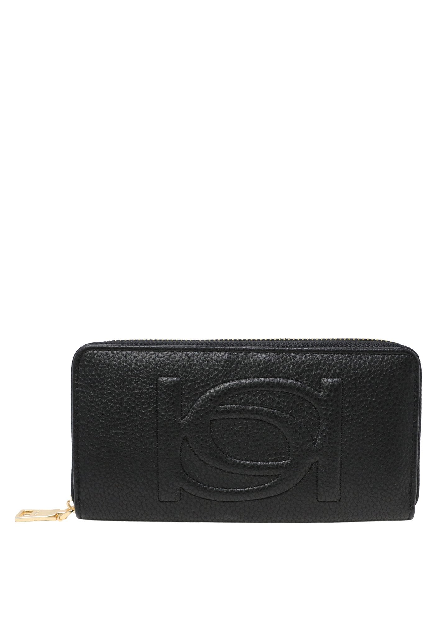 Bebe Women's Poppy Zip Around Wallet, Size OS in Black Polyurethane