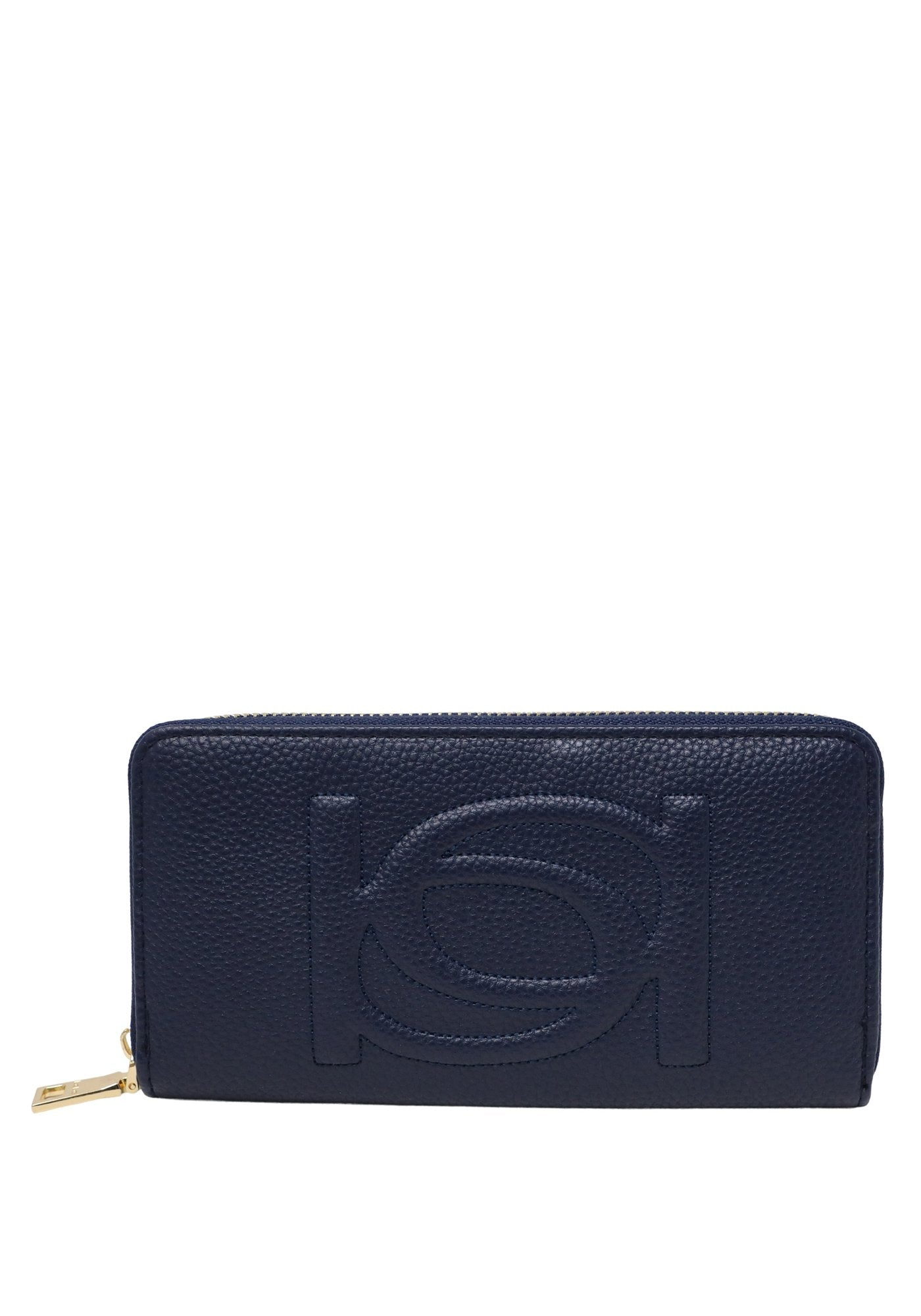 Bebe Women's Poppy Zip Around Wallet, Size OS in Navy Blue Polyurethane