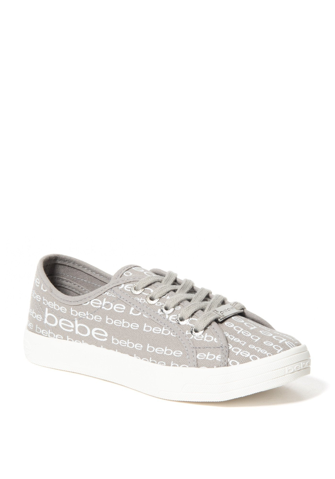 Bebe Women's Daylin Logo Sneakers, Size 6 in Grey Synthetic