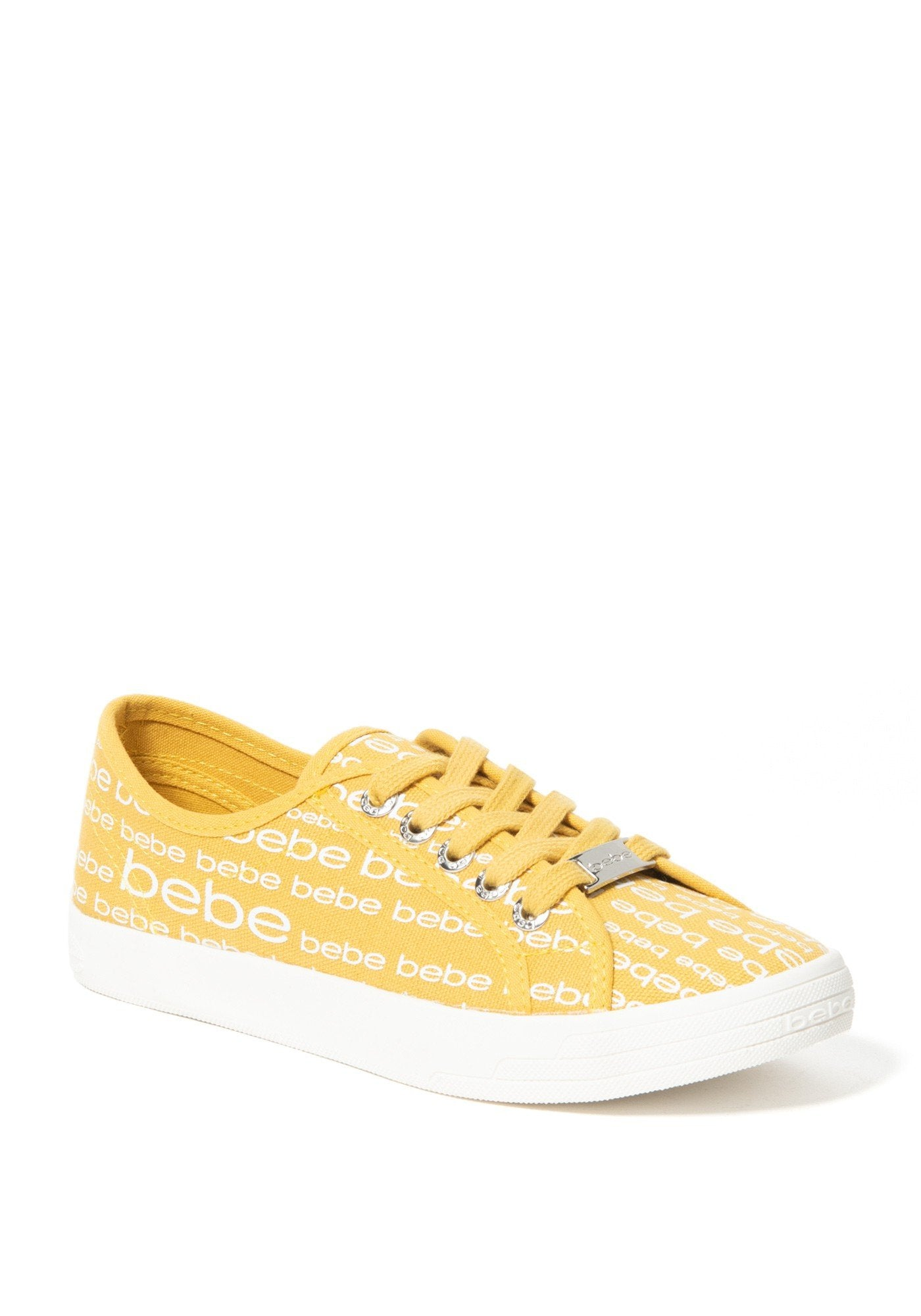 Bebe Women's Daylin Logo Sneakers, Size 6 in Yellow Synthetic