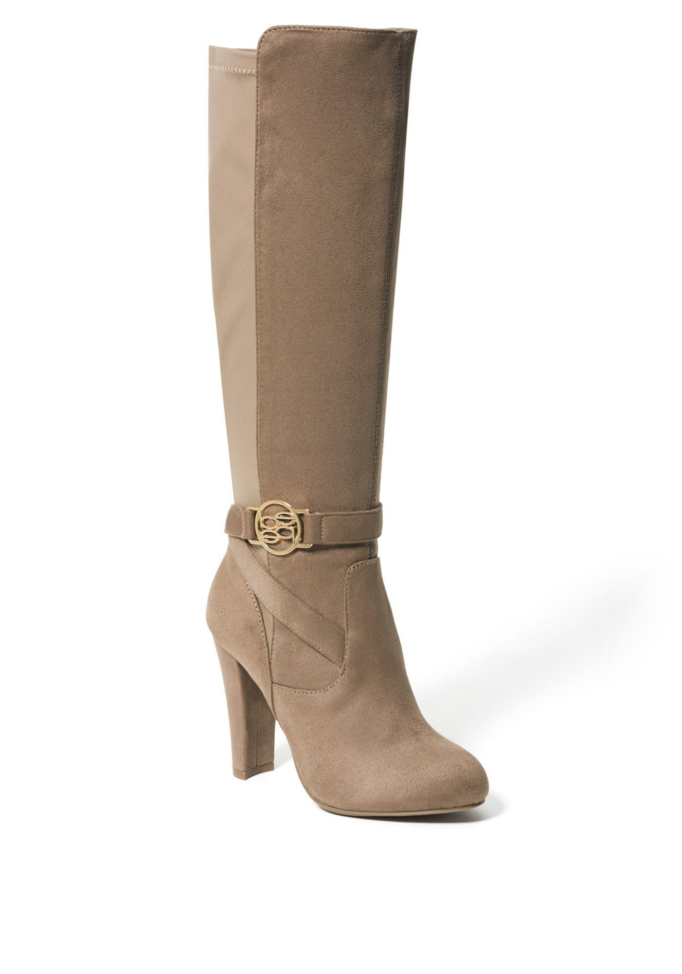 Bebe Women's Barya Logo Boots, Size 6 in Taupe Suede