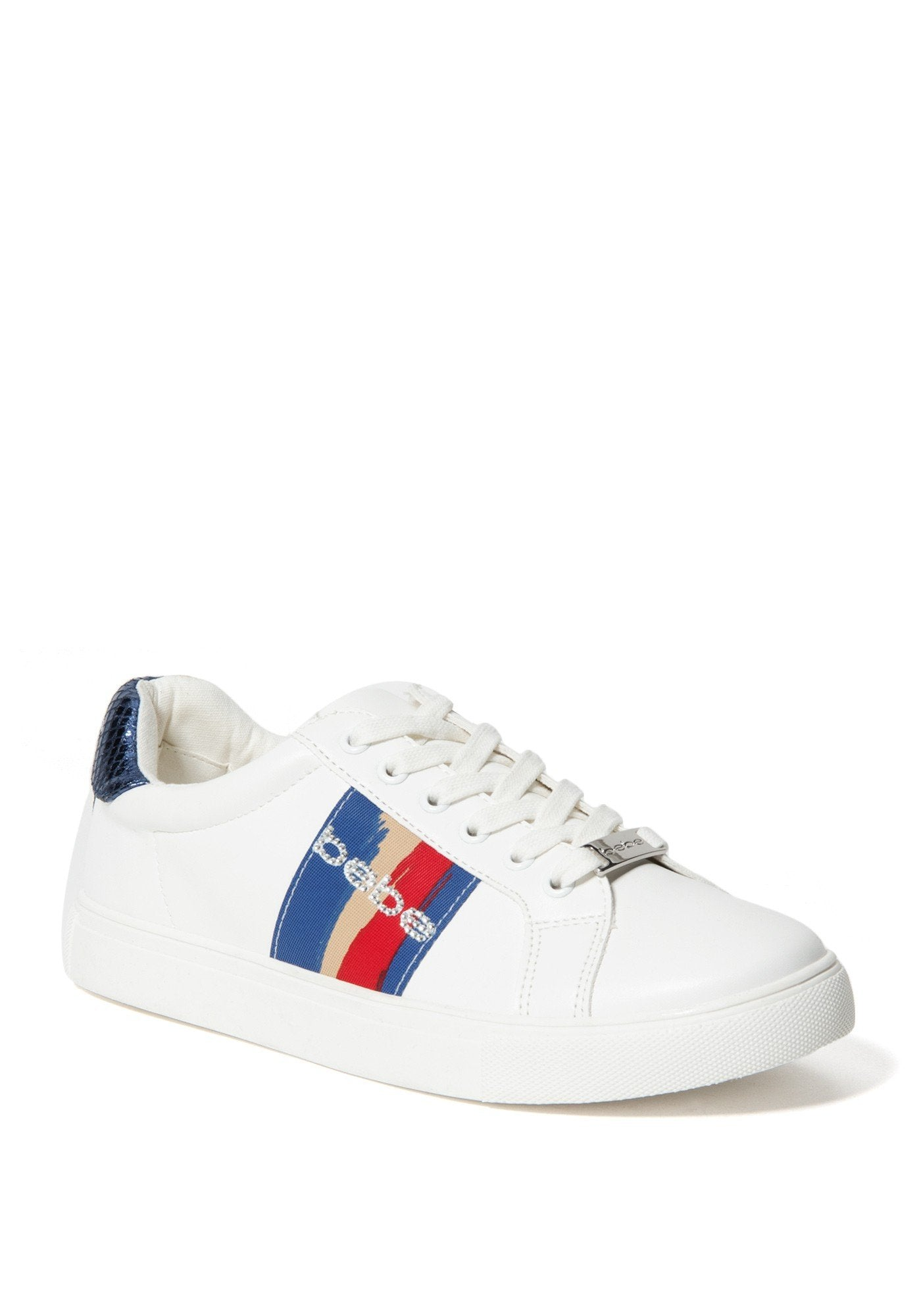 Bebe Women's Coley Logo Sneakers, Size 6 in White/Blue Synthetic