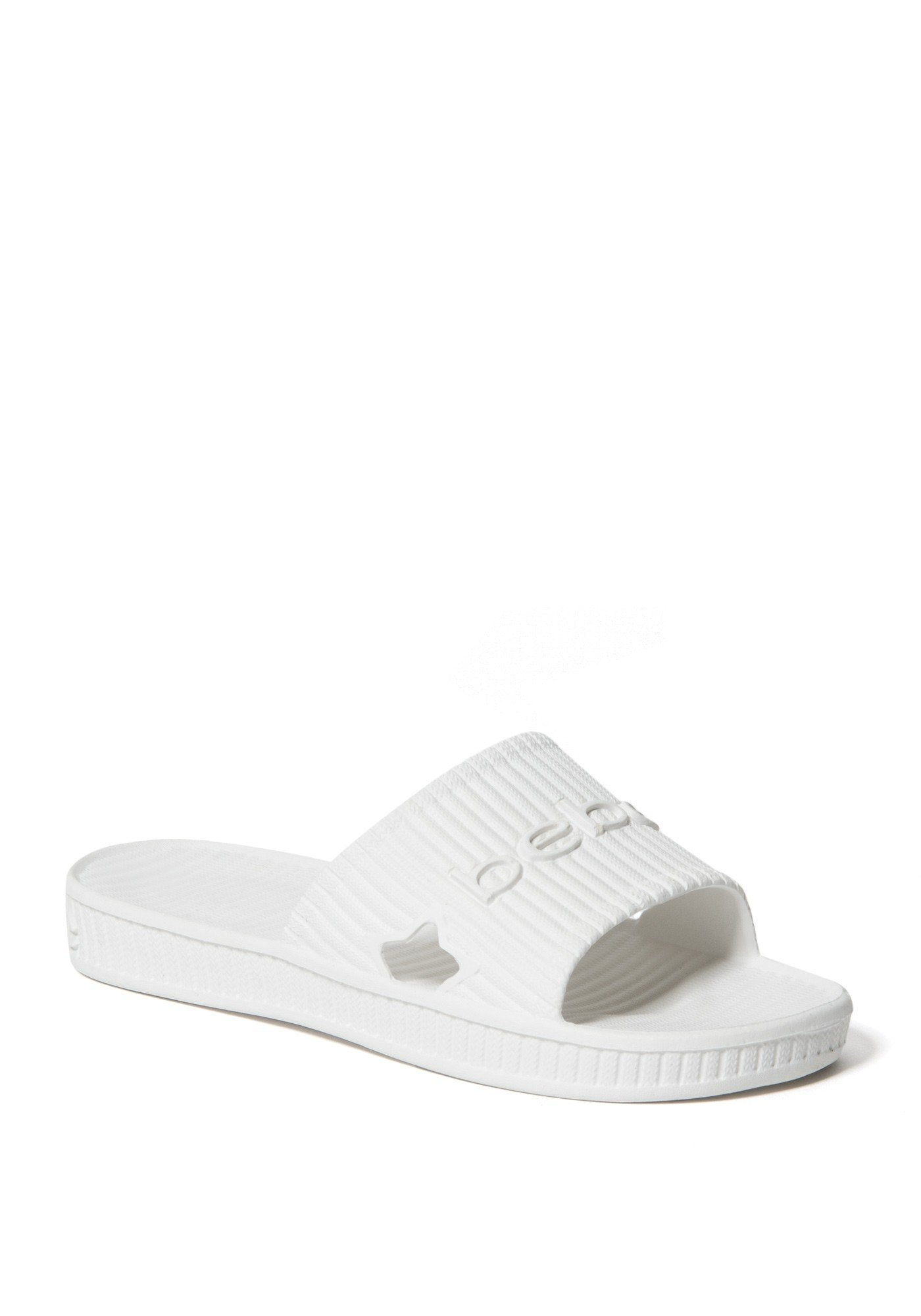 Bebe Women's Craze Logo Slides Shoe, Size 6 in Ice White Synthetic