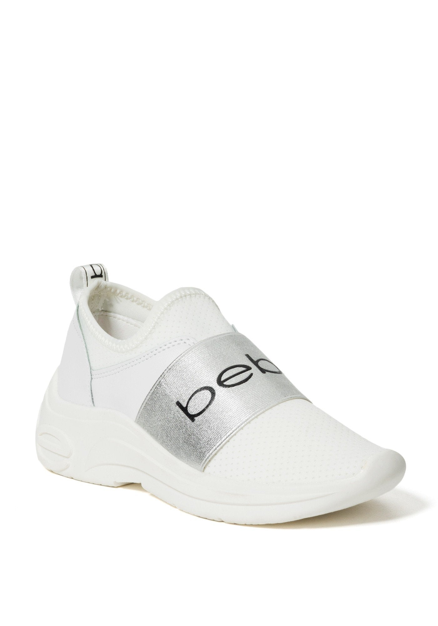 Bebe Women's Ladd Logo Slip On Sneakers, Size 6 in White Synthetic