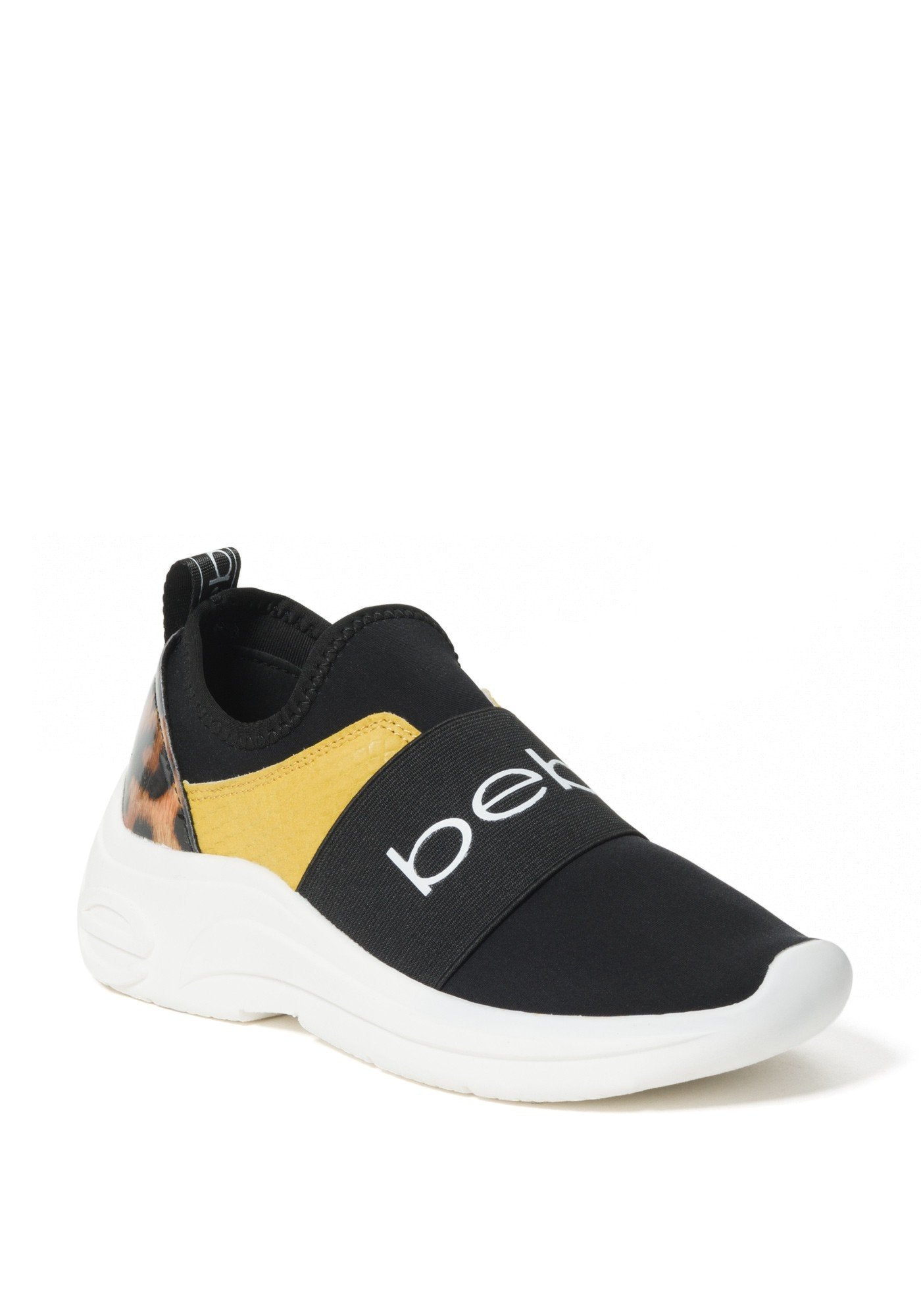 Bebe Women's Ladd-S Logo Slip On Sneakers, Size 6 in Yellow/Black Synthetic