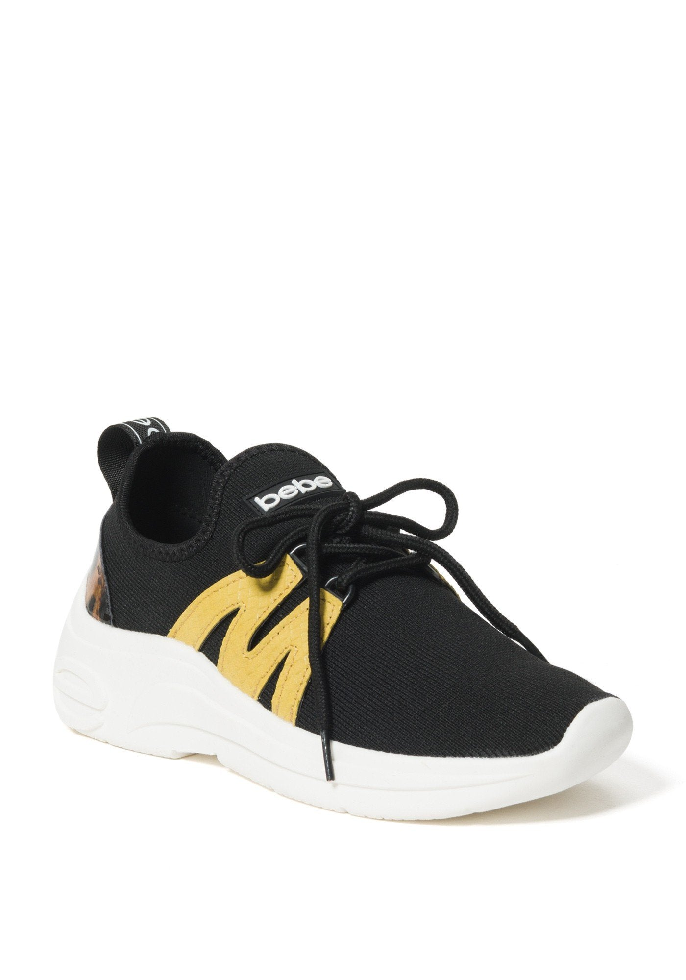 Bebe Women's Leylan Logo Sneakers, Size 6 in Black/Yellow Synthetic