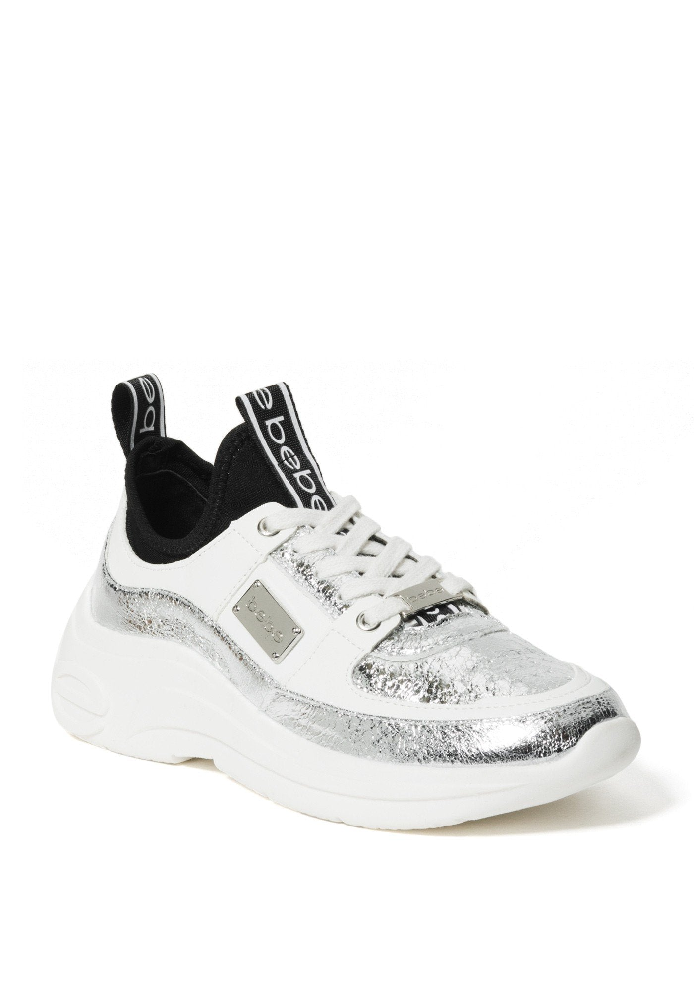 Bebe Women's Lealea Logo Sneakers, Size 6 in Silver/White Synthetic