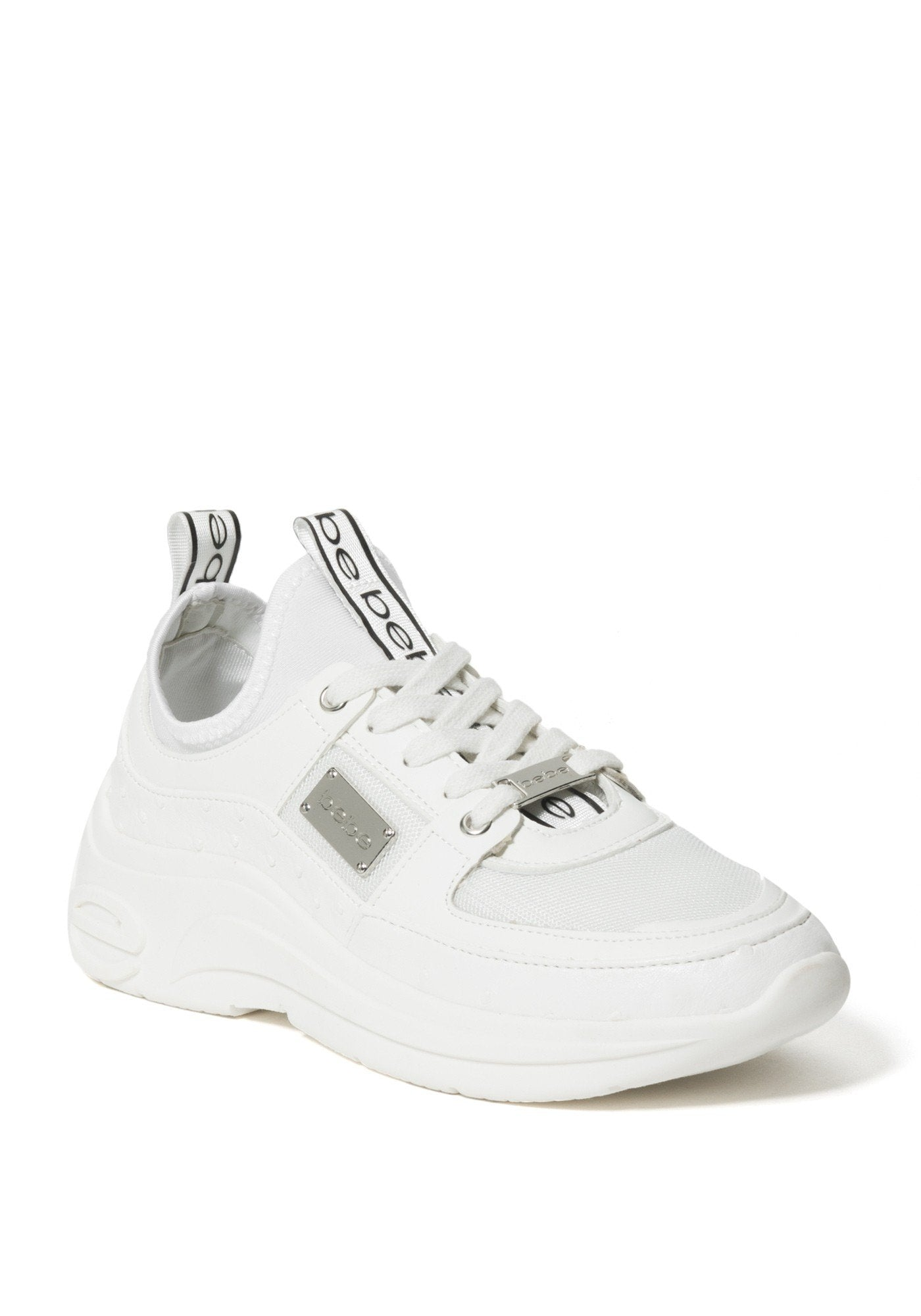 Bebe Women's Lealea Logo Sneakers, Size 6 in White Synthetic