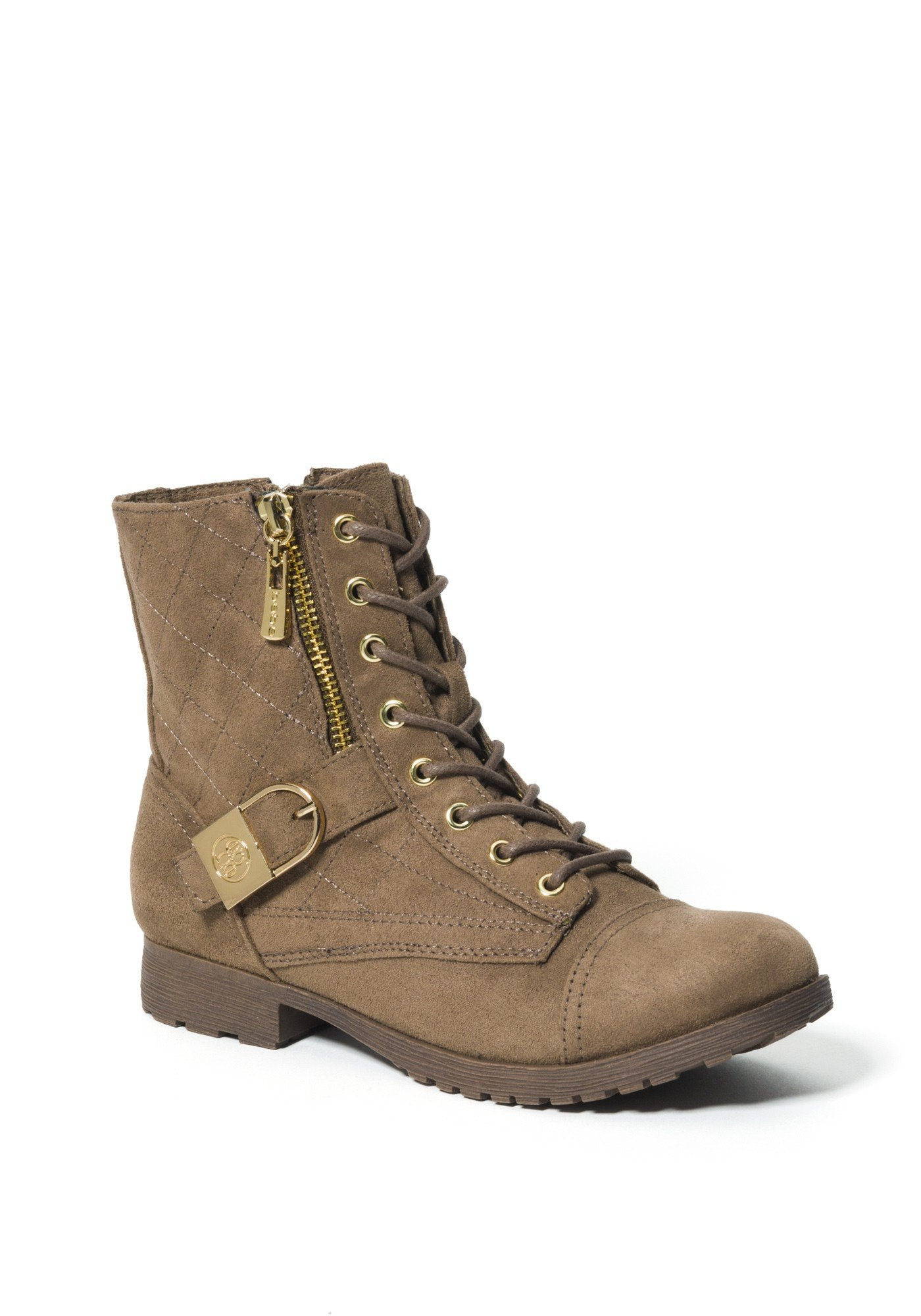 Bebe Women's Wandell Logo Ankle Boots, Size 6 in Taupe Suede