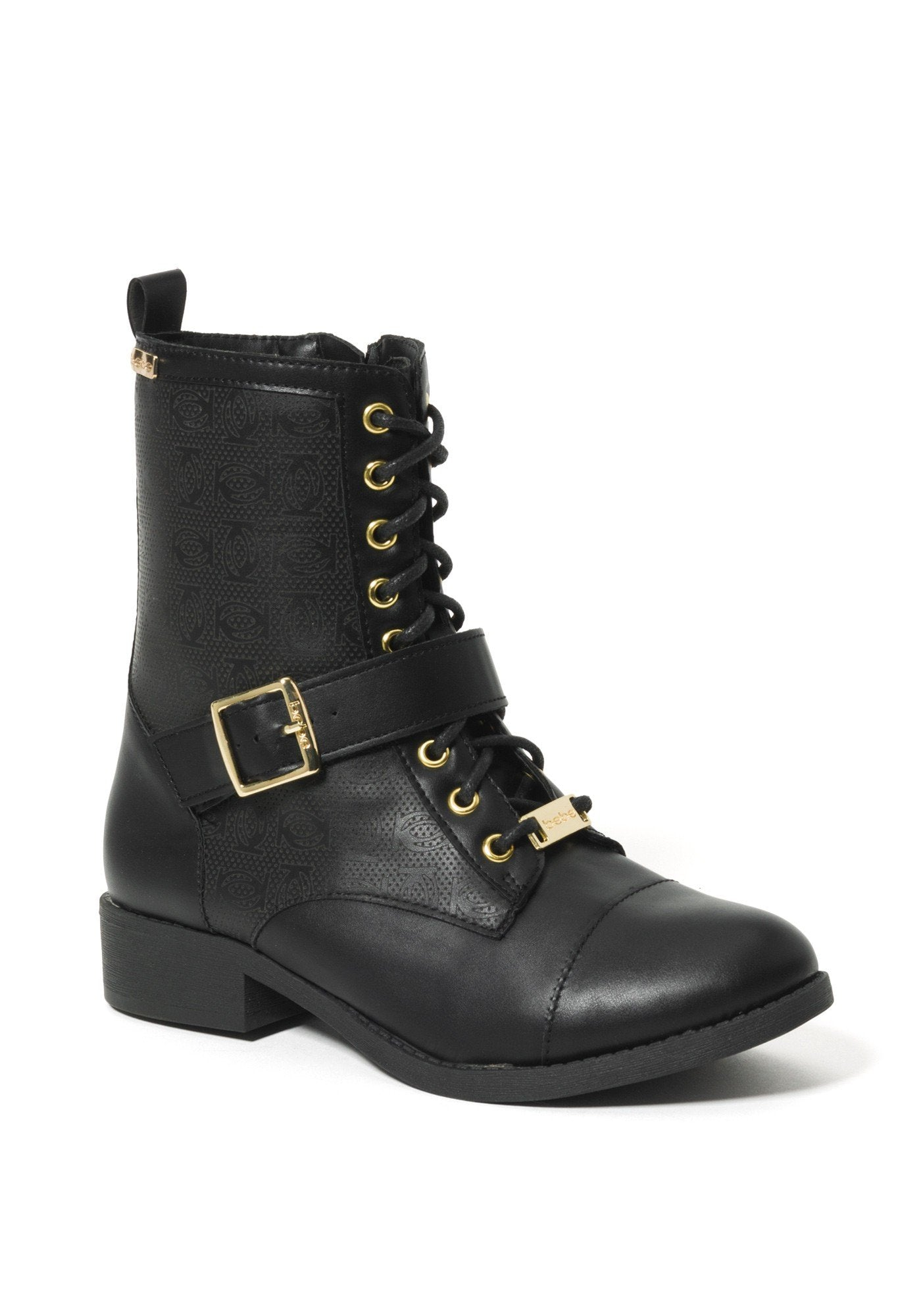 Bebe Women's Ofeibea Logo Ankle Boots, Size 6 in Black Synthetic