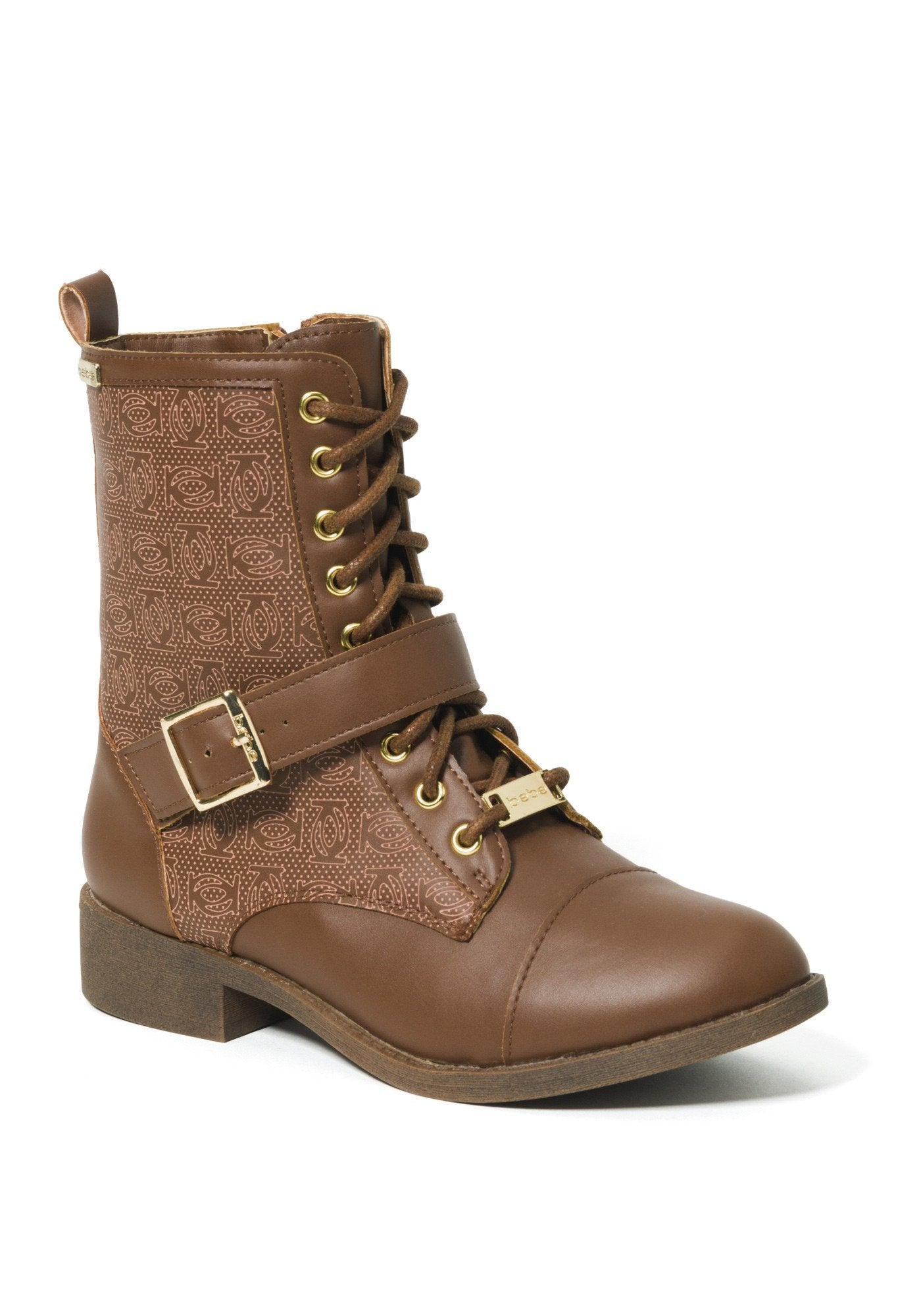 Bebe Women's Ofeibea Logo Ankle Boots, Size 6 in Cognac Synthetic