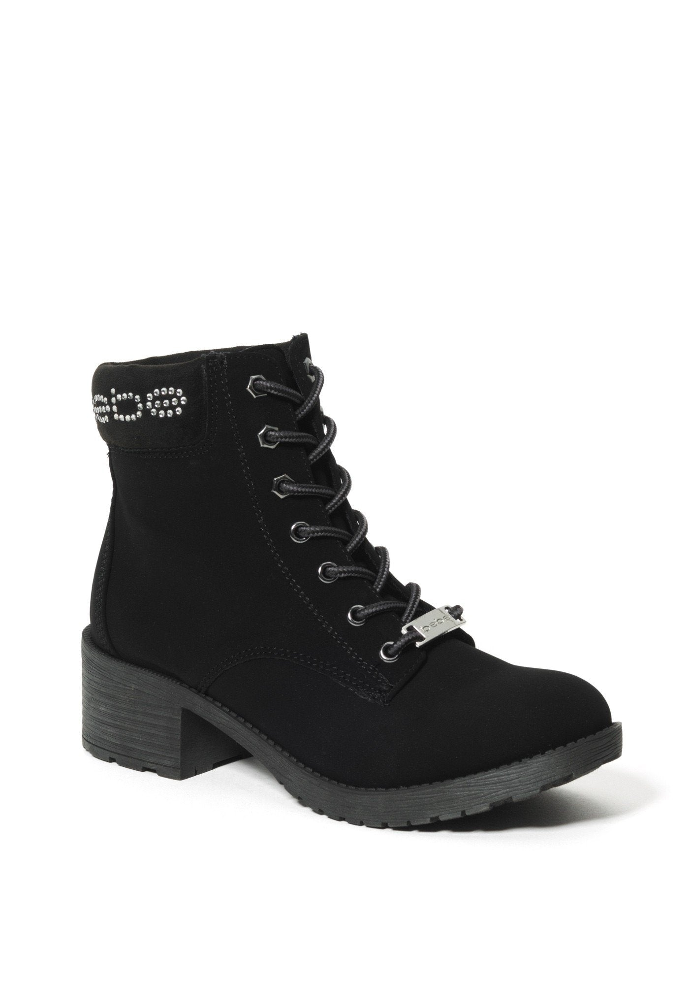 Bebe Women's Shaylie Logo Ankle Boots, Size 6 in Black Synthetic