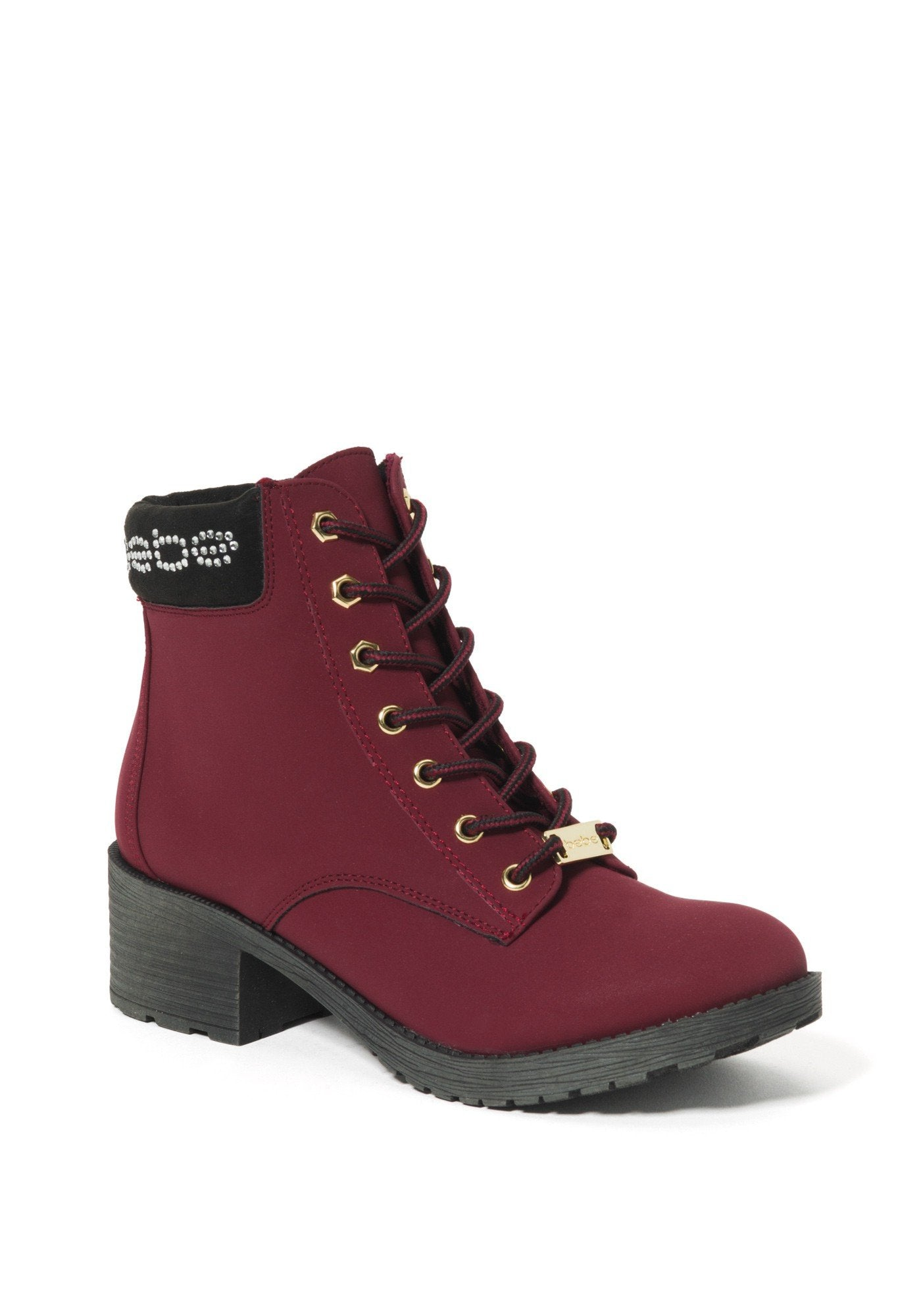 Bebe Women's Shaylie Logo Ankle Boots, Size 6 in Red Synthetic