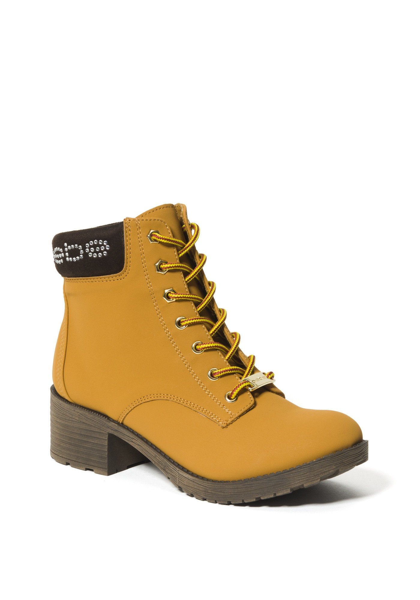 Bebe Women's Shaylie Logo Ankle Boots, Size 6 in Wheat Synthetic