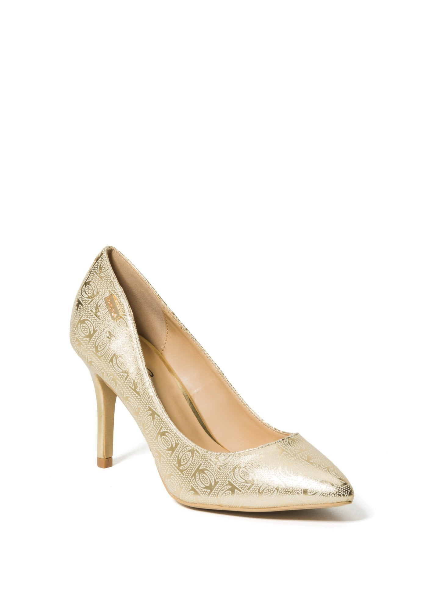 Bebe Women's Saydee Logo Pumps, Size 6 in Gold Synthetic