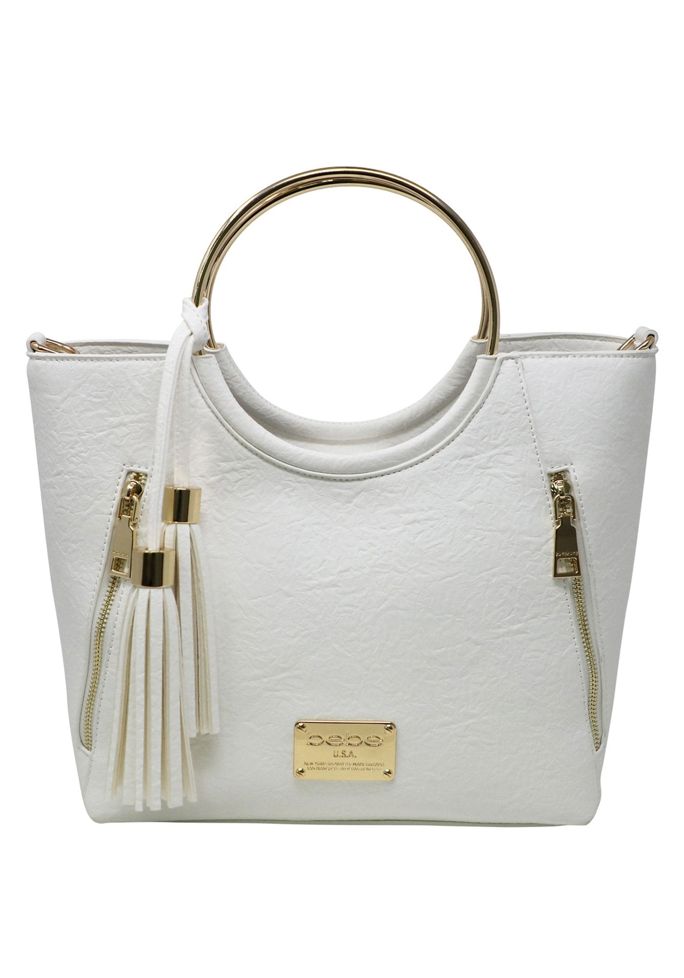 Bebe Women's Rose Ring Handle Satchel, Size O/S in White Polyurethane