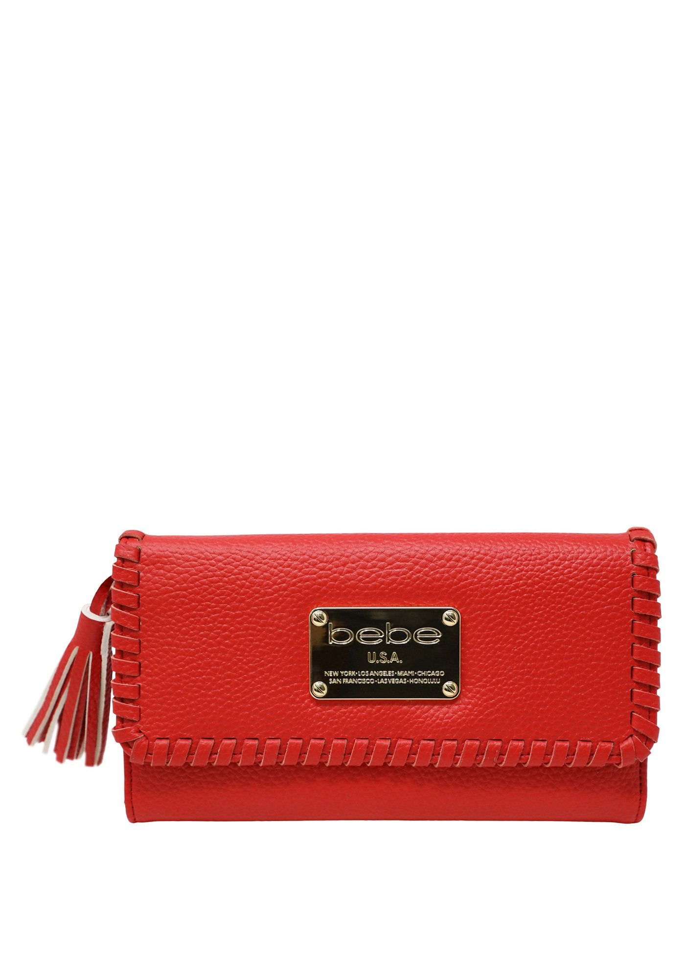 Bebe Women's Jayhud Wallet, Size O/S in Red Polyurethane