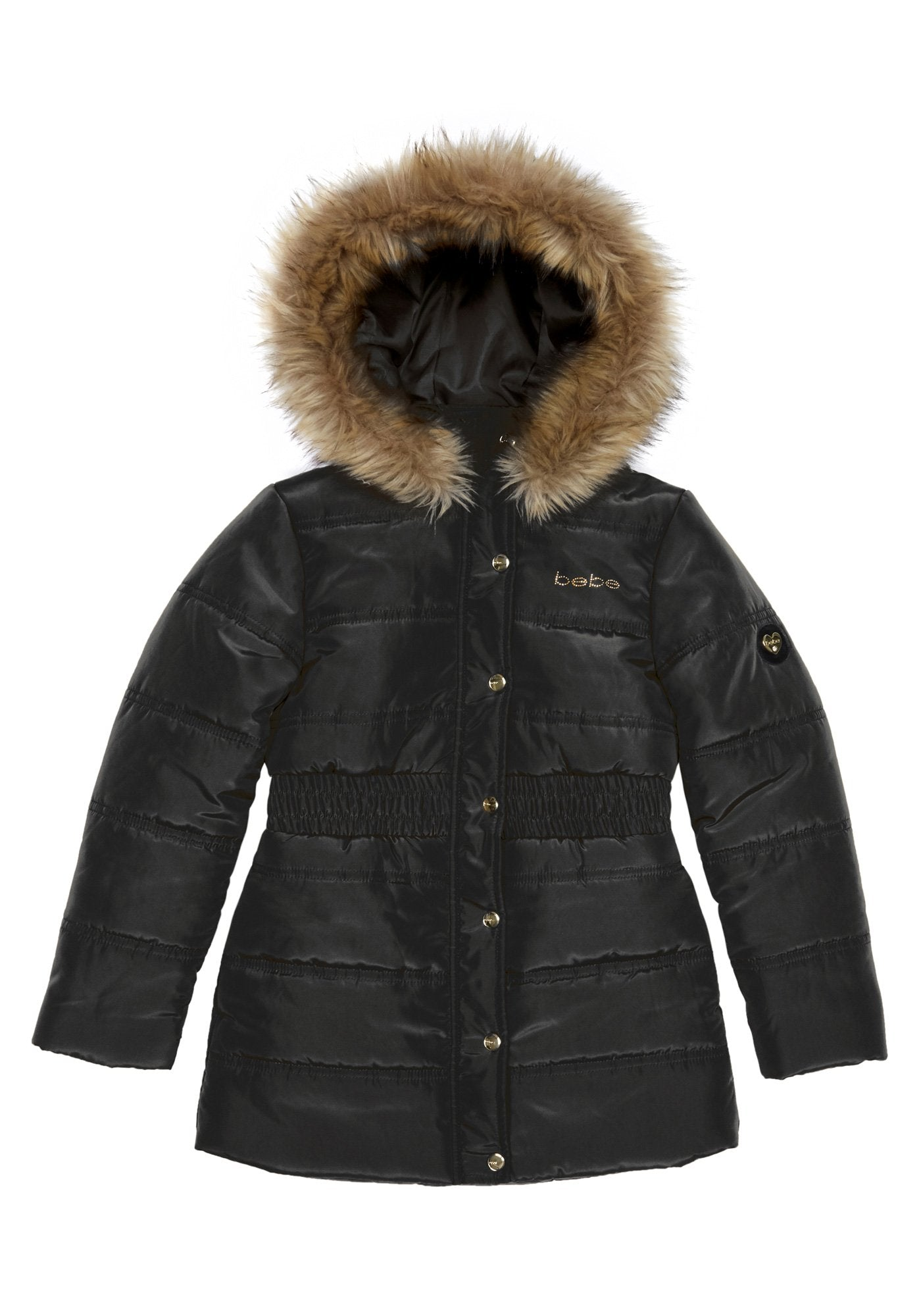 BeBe Womens Outerwear Womens Bubble Jacket with Faux Fur