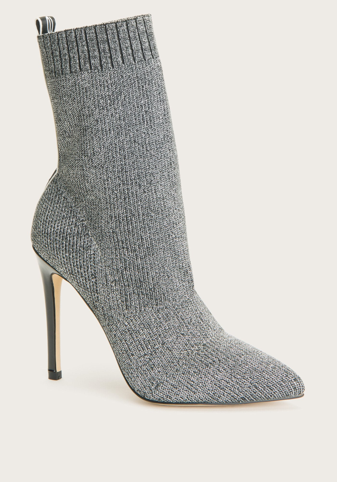 Bebe Women's Discover Sock Ankle Boots, Size 6 in Silver Synthetic
