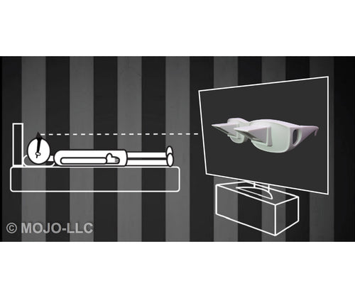 White Lazy Glasses Horizontal Reader Periscope Mirror Glasses - Watch TV in bed!