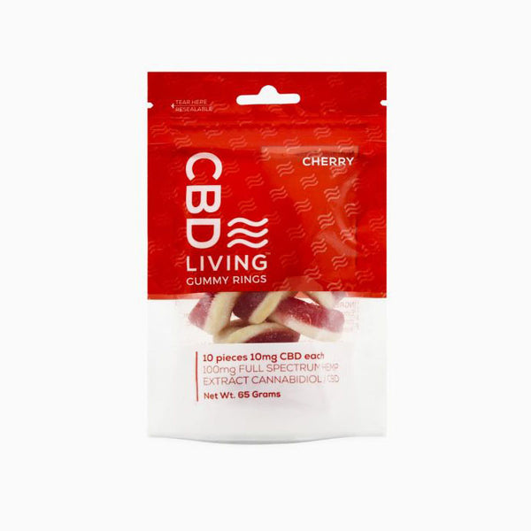 CBD Living Cherry  Gummy Ring Bag 100 MG