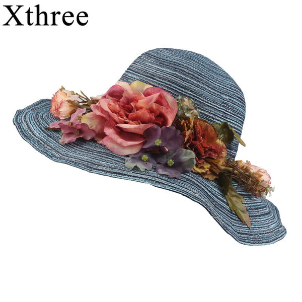 f35598548 Xthree Summer women Raffia straw hat cap Ladies Big brim Sun hat for girl  flower and ...