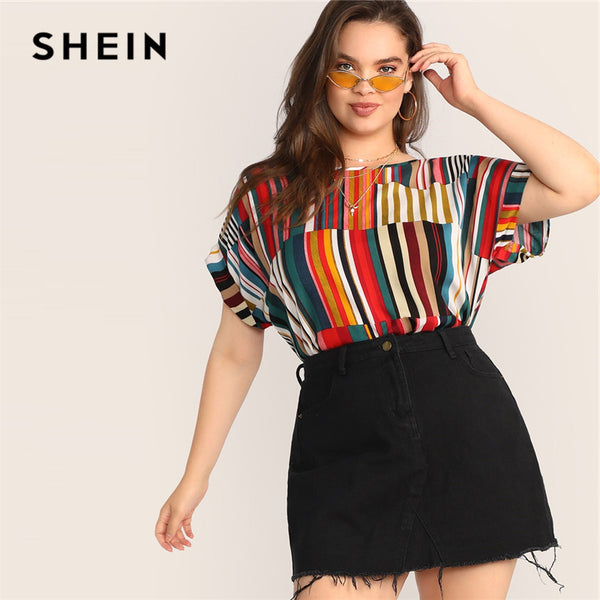 9b0d29c55 SHEIN Plus Size Multicolor Colorful Striped Top Blouse 2019 Women Summer  Casual Short Sleeve ...