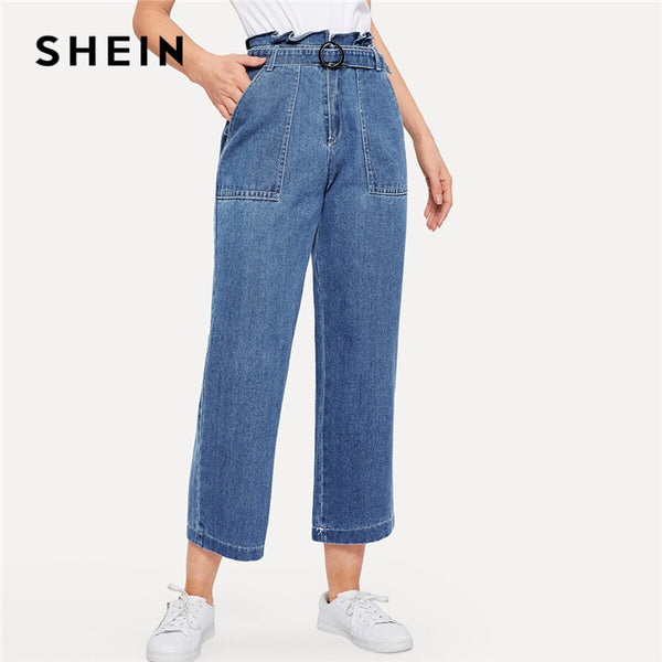 3f663e287 SHEIN Paperbag Waist Ring Belted Wide Leg Jeans 2019 Ruffle Waist Culotte  Jeans With Belt Blue ...