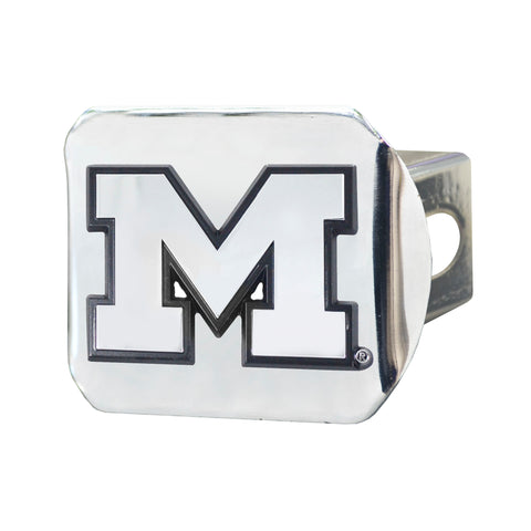 University of Michigan Chrome Hitch Cover- Chrome 3.4