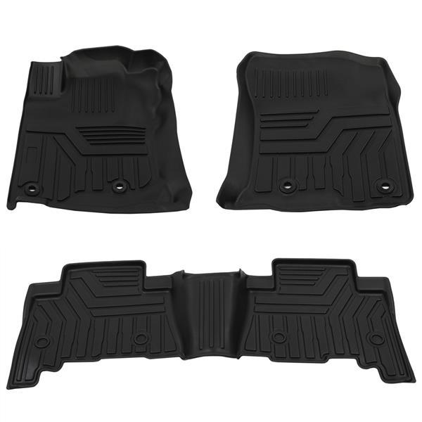 Floor Mats Compatible for 2013-2020 Toyota 4Runner, 2014-2020 Lexus GX460 All Weather Protector Mat Accessories Front Rear 2 Row Seat TPE Slush Liner Black