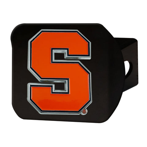 Syracuse Orange Color Hitch Cover - Black 3.4