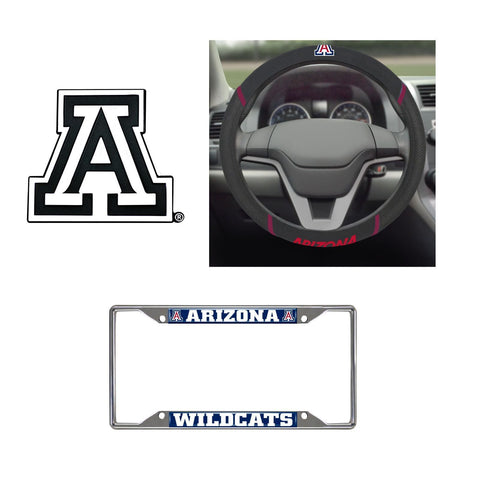 Arizona Wildcats Steering Wheel Cover, License Plate Frame, 3D Chrome Emblem