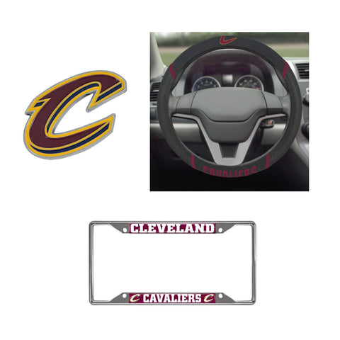 Cleveland Cavaliers Steering Wheel Cover, License Plate Frame, 3D Color Emblem