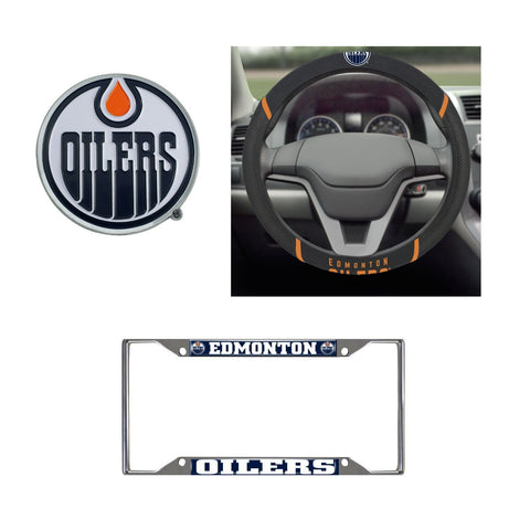 Edmonton Oilers Steering Wheel Cover, License Plate Frame, 3D Color Emblem