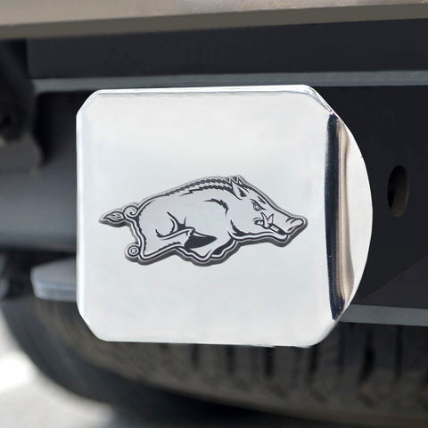 University of Arkansas Chrome Hitch Cover- Chrome 3.4