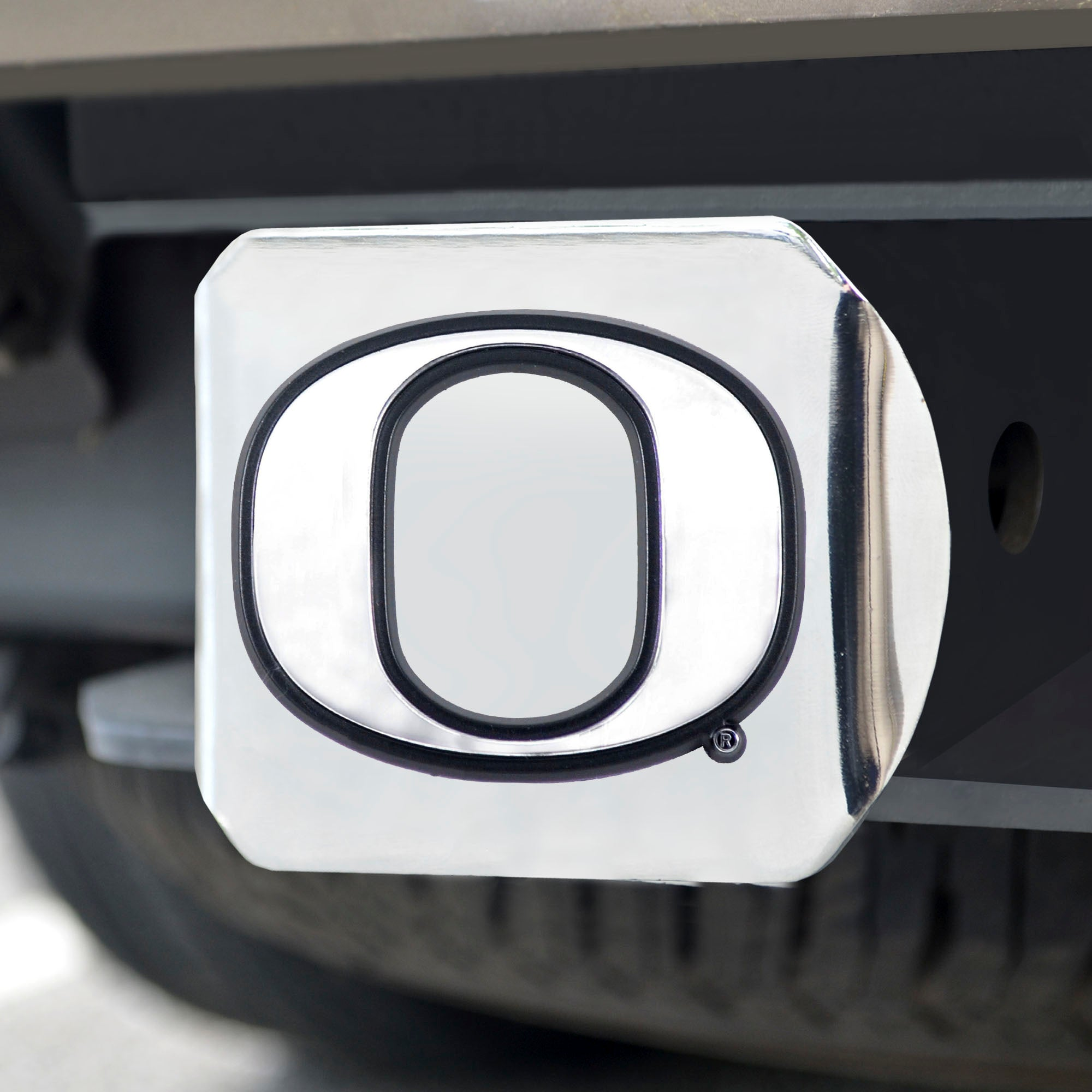 University of Oregon Chrome Hitch Cover- Chrome 3.4