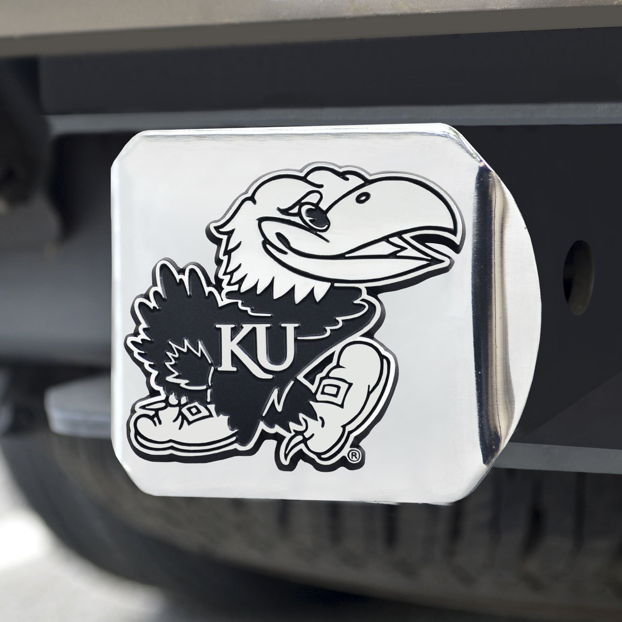 Kansas Jayhawks Chrome Hitch Cover 3.4