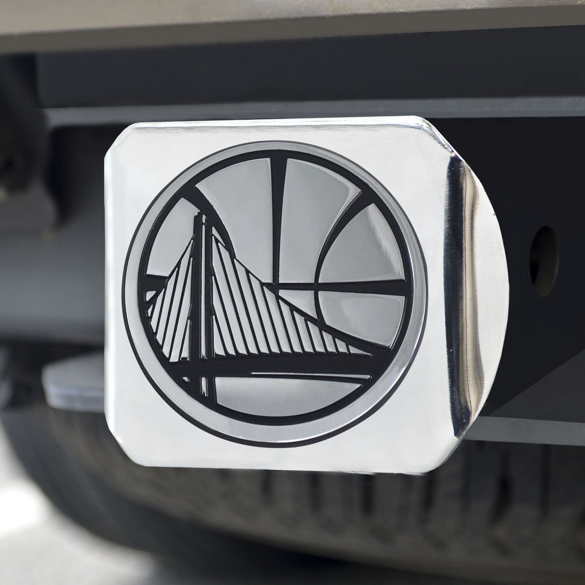 Golden State Warriors Chrome Hitch Cover 3.4
