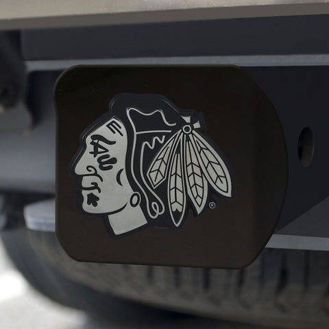 Chicago Blackhawks Chrome Hitch Cover - Black 3.4
