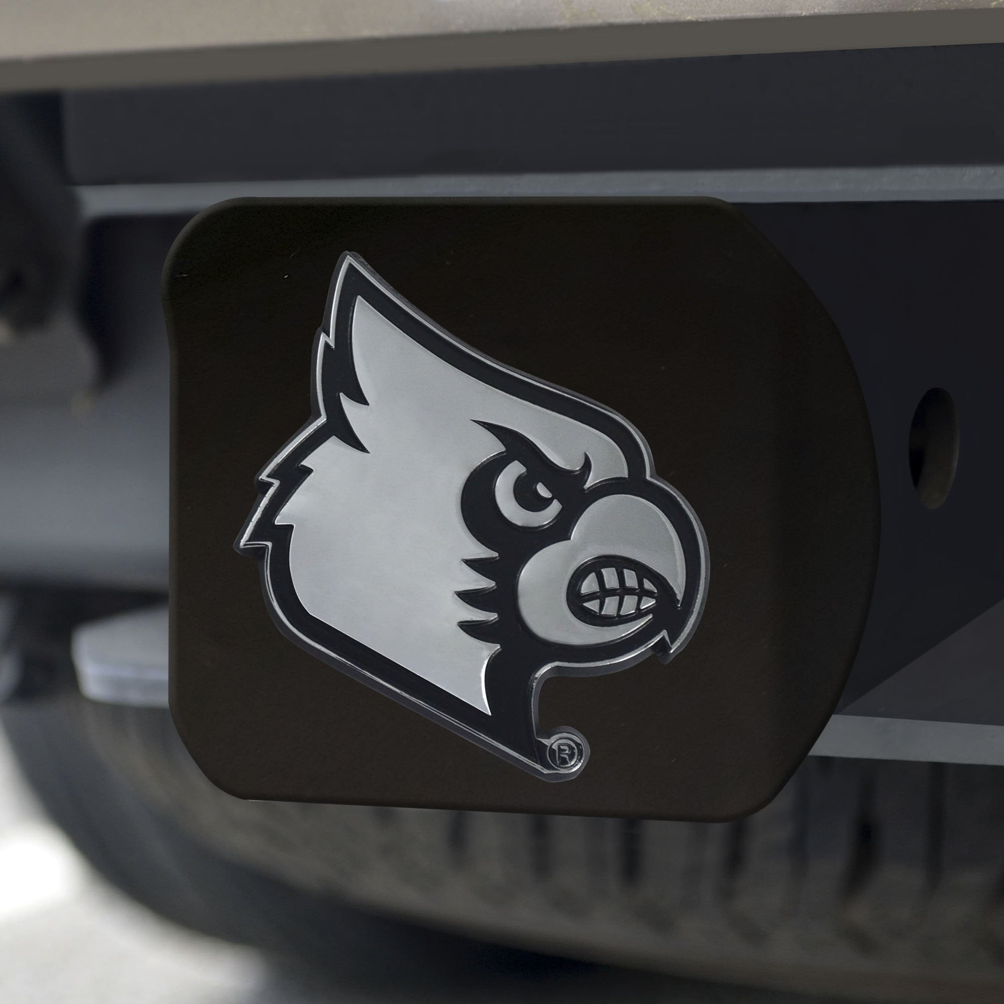 Louisville Cardinals Chrome Hitch Cover - Black 3.4