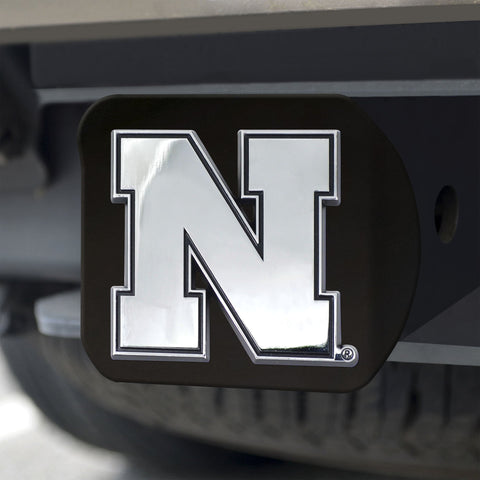 Nebraska Cornhuskers Chrome Hitch Cover - Black 3.4