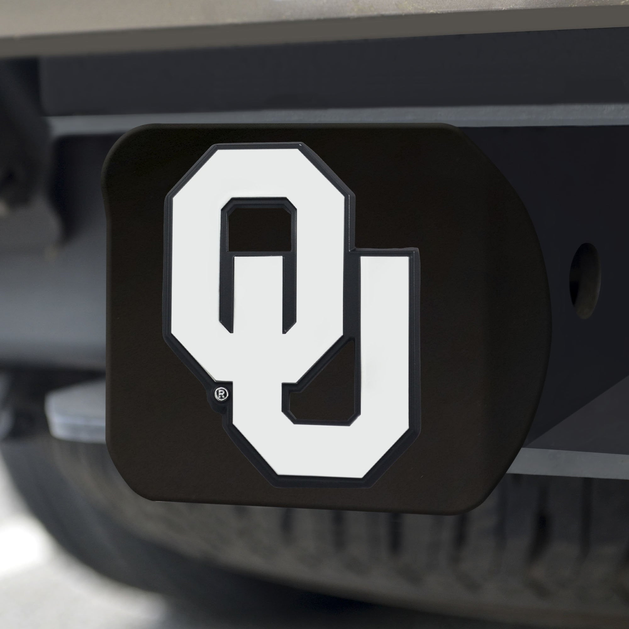 Oklahoma Sooners Chrome Hitch Cover - Black 3.4
