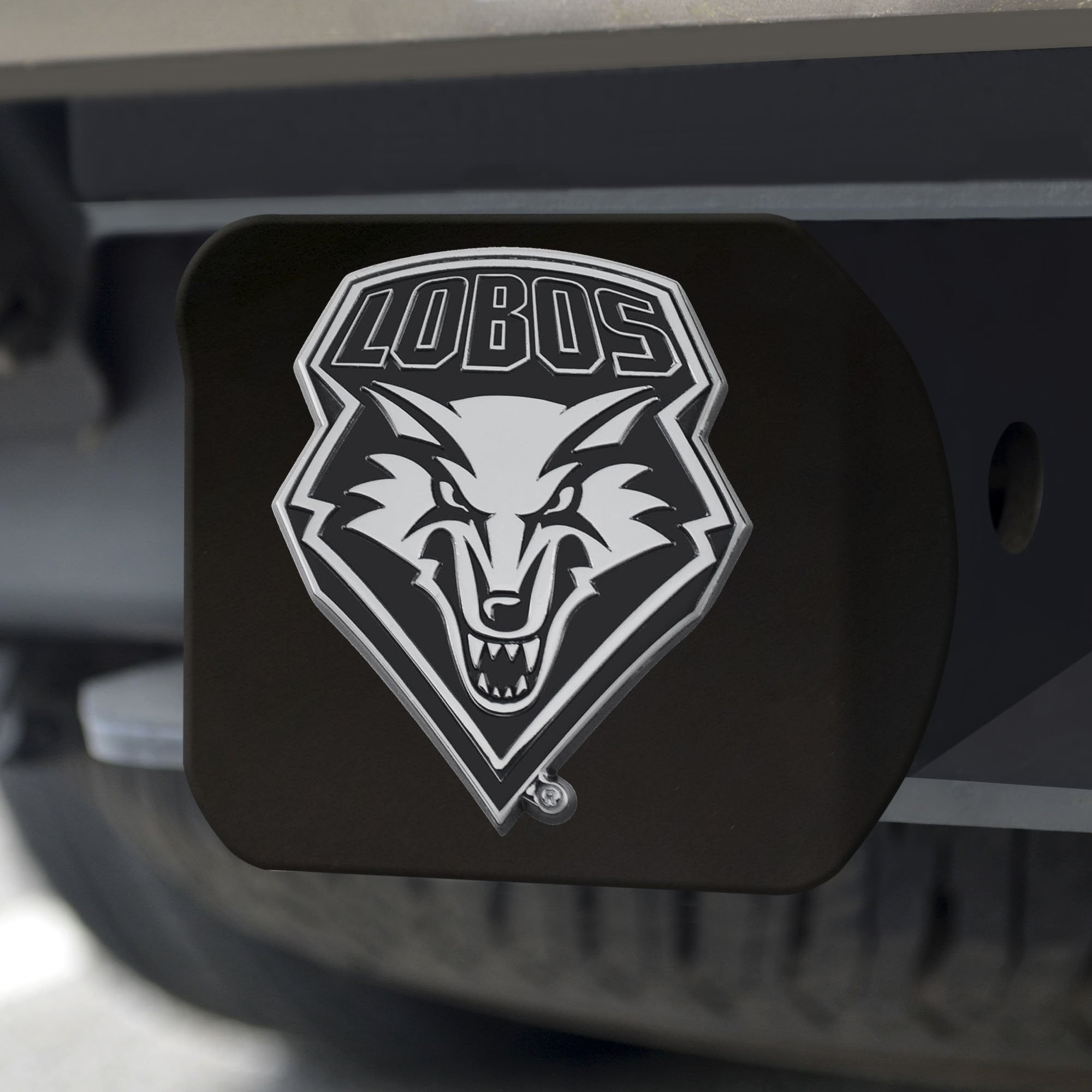 New Mexico Lobos Chrome Hitch Cover - Black 3.4