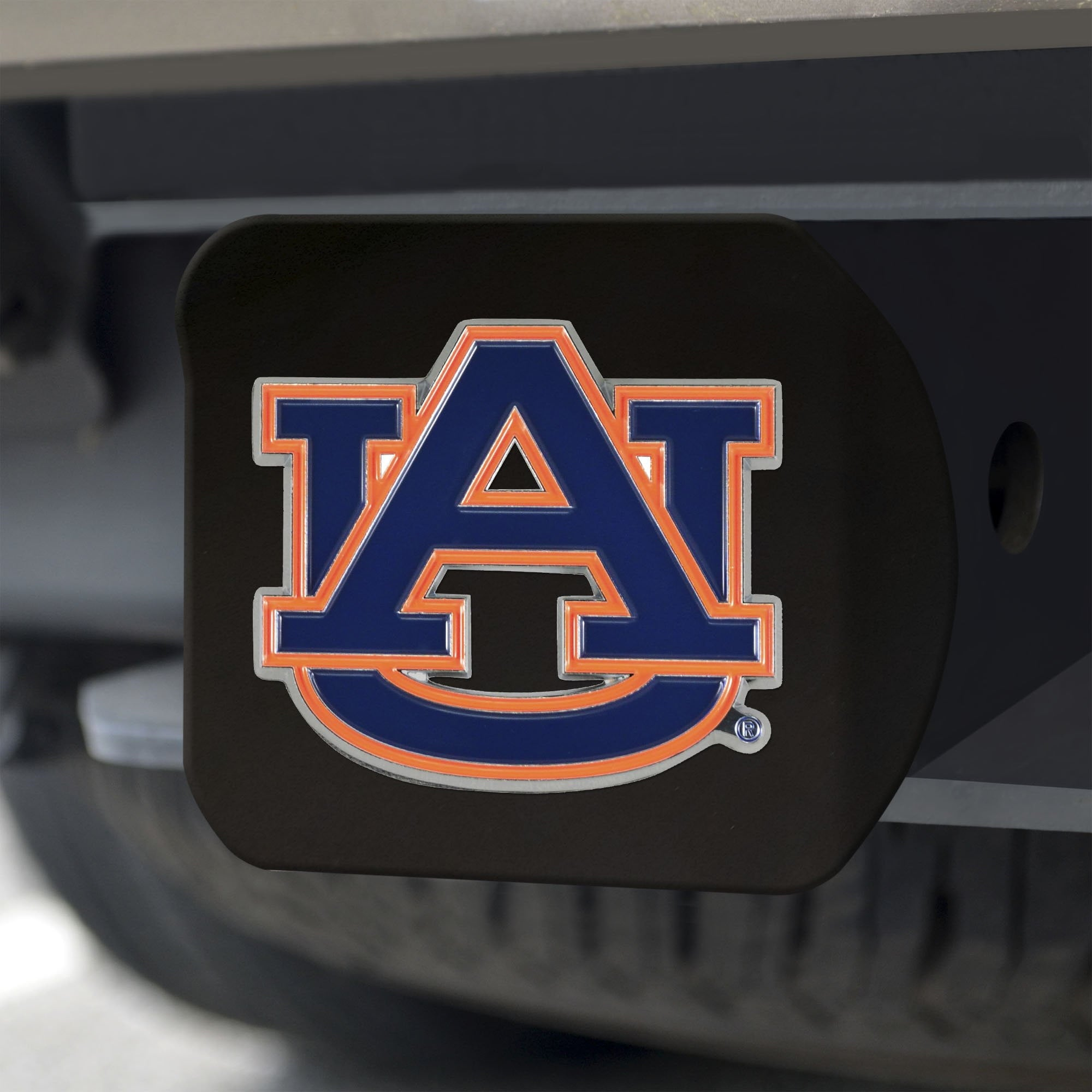 Auburn Tigers Color Hitch Cover - Black 3.4