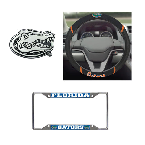 Florida Gators Steering Wheel Cover, License Plate Frame, 3D Chrome Emblem