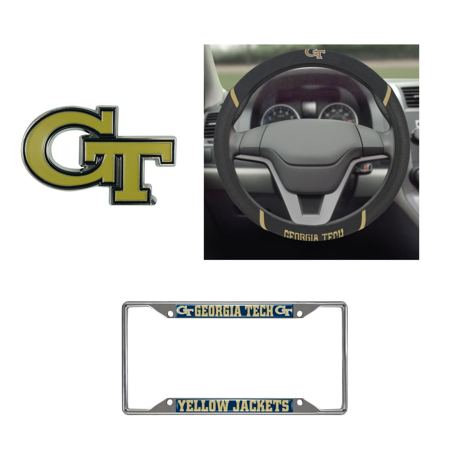Georgia Tech Yellow Jackets Steering Wheel Cover, License Plate Frame, 3D Color Emblem