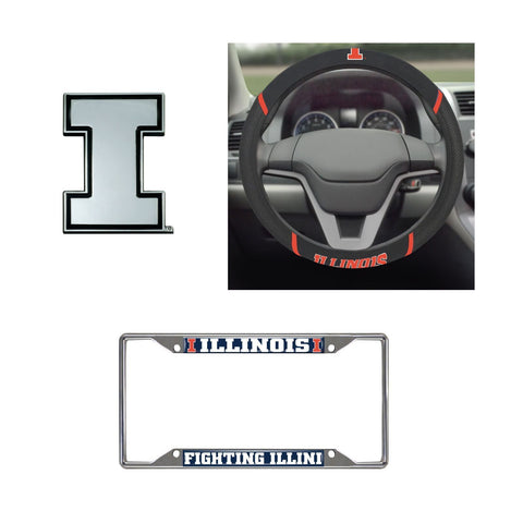 Illinoisi Fighting Illini Steering Wheel Cover, License Plate Frame, 3D Chrome Emblem