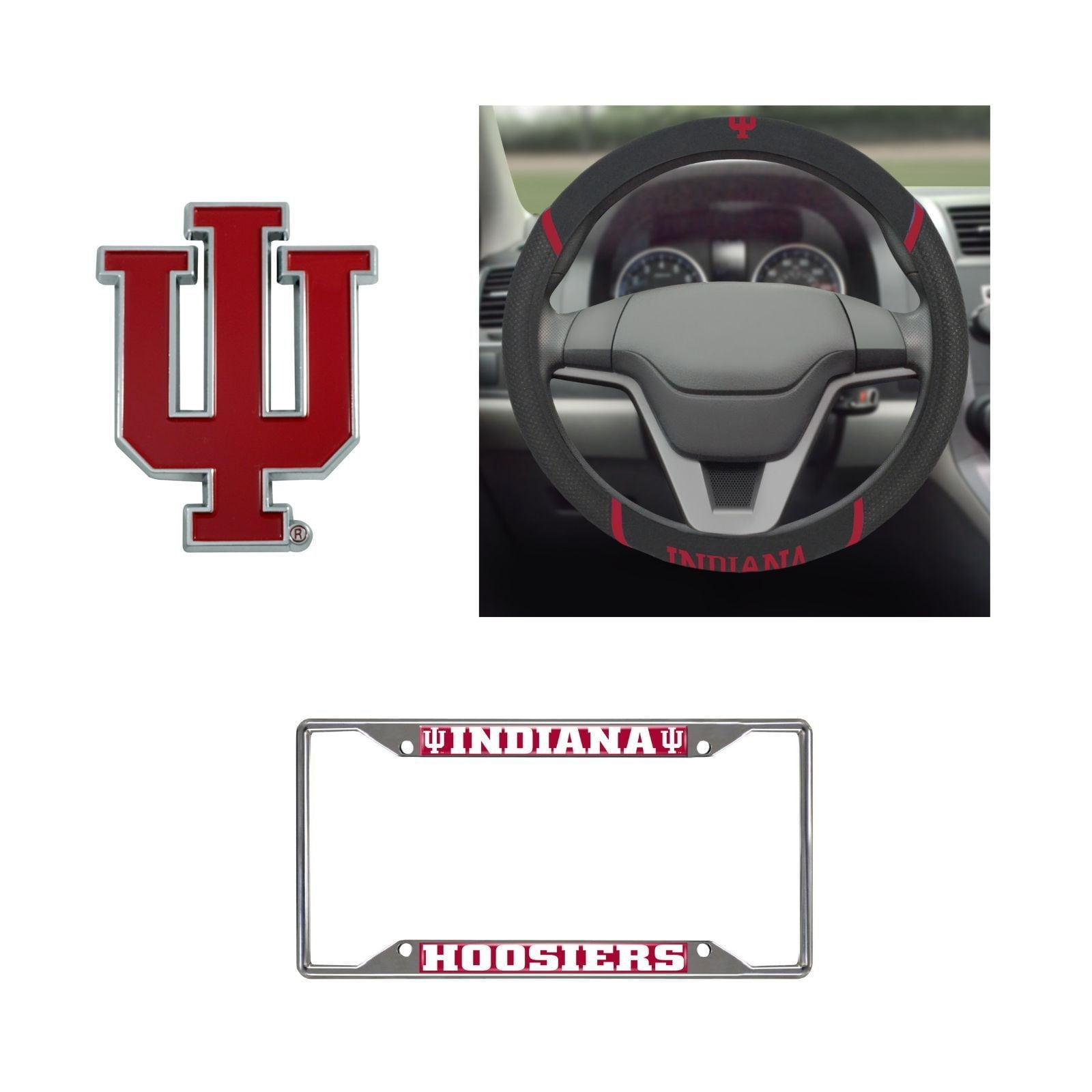 Indiana Hoosiers Steering Wheel Cover, License Plate Frame, 3D Color Emblem