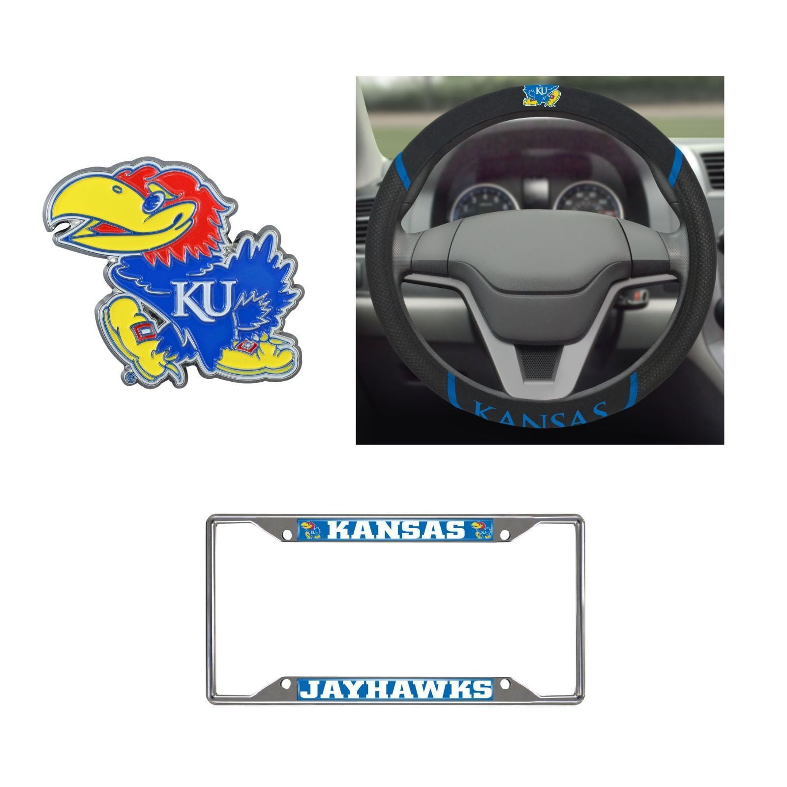 Kansas Jayhawks Steering Wheel Cover, License Plate Frame, 3D Color Emblem
