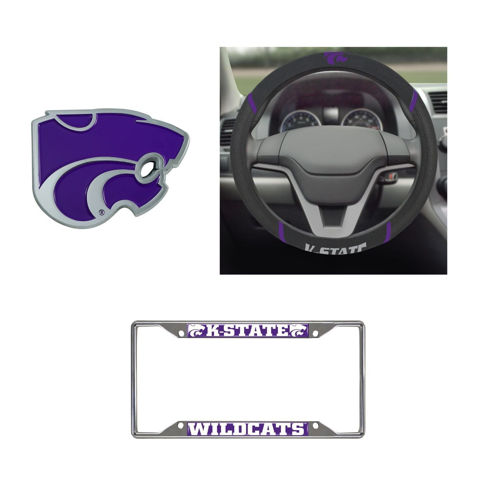 Kansas State Wildcats Steering Wheel Cover, License Plate Frame, 3D Color Emblem
